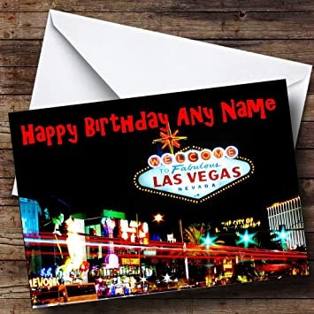 Las Vegas America Personalised Birthday Card Amazoncouk Office Products