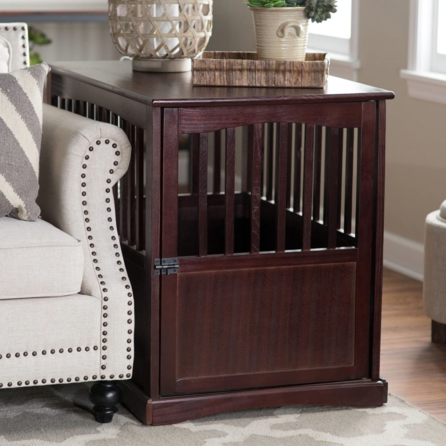 Amazon.com: Dog Crate Kennel Cage Bed Night Stand End Table Wood Furniture  Cave House Room Medium / Dark Brown.: Pet Supplies