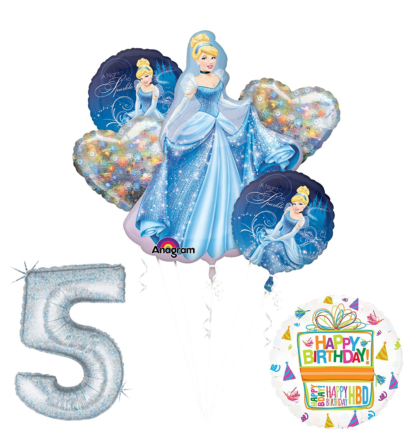 Mayflower Products Cinderella 5th birthday party supplies and princess balloon decorations