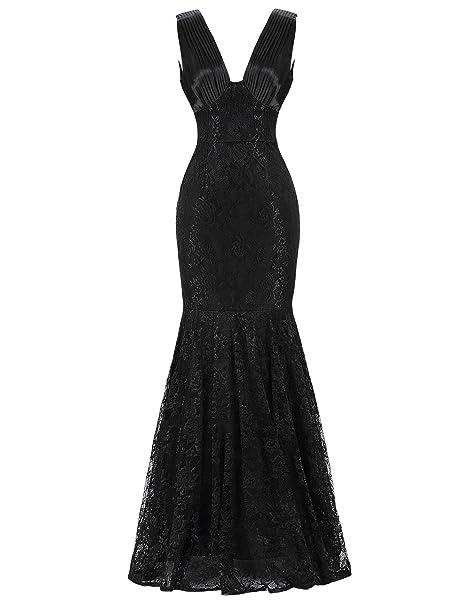 Vestido Starzz sin mangas para fiestas o ceremonias con corte sirena y encaje ST84 negro negro
