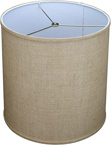 FenchelShades.com 14 Top Diameter x 15 Bottom Diameter x 15 Height Fabric Drum Lampshade Spider Hardware Burlap Natural