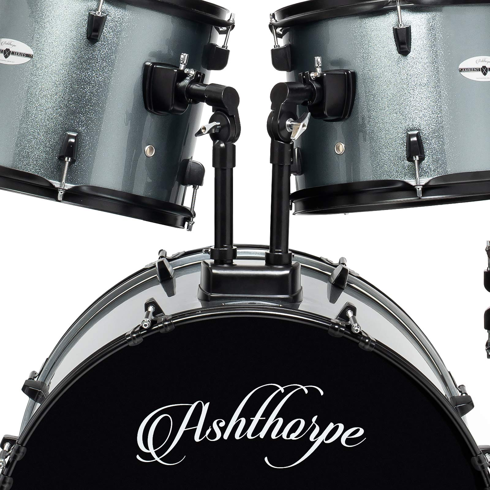 Ashthorpe 5-Piece Complete Full Size Adult Drum Set with Remo Batter Heads - Silver by Ashthorpe (Image #4)