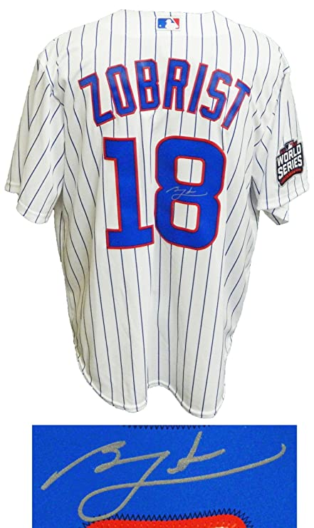 the best attitude 1f115 241db Autographed Ben Zobrist Jersey - White Pinstripe 2016 World ...