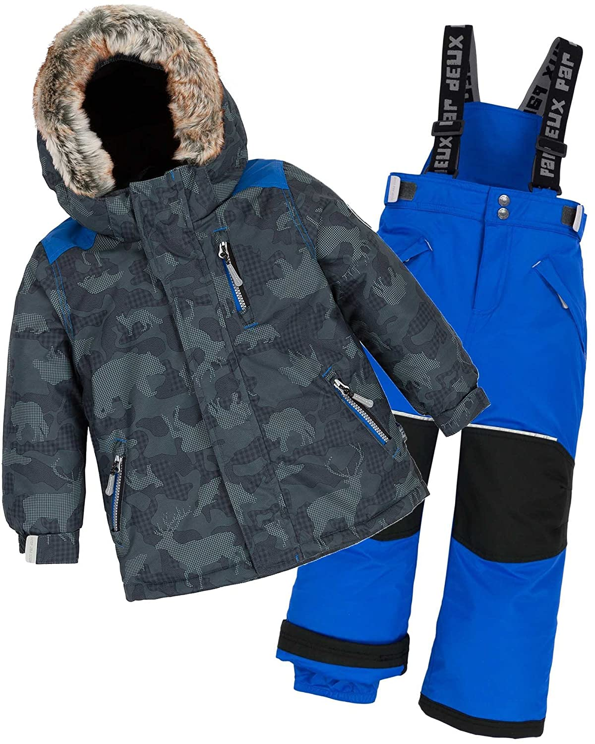 Deux par Deux Boys' 2-Piece Snowsuit Camo Animo Blue, Sizes 3-14