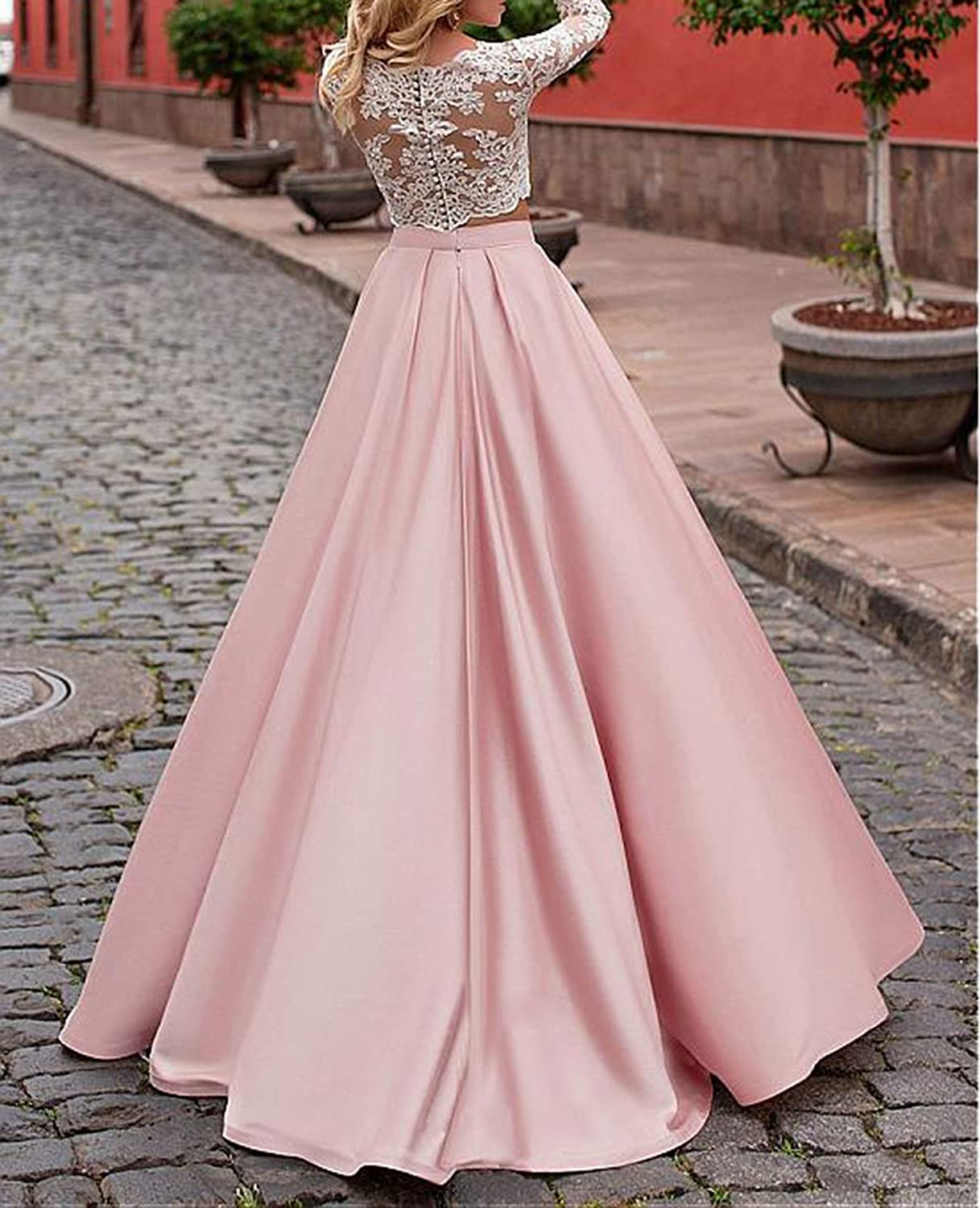 Vweil 2018 Long 2 Pieces Lace Prom Dresses for Seniors 3/4 Sleeves VD35 at Amazon Womens Clothing store:
