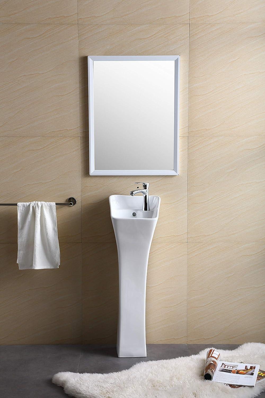 Fine Fixtures Windfield Pedestal, Elegant One Piece Pedestal Sink, Corner Faucet Hole, Vitreous China