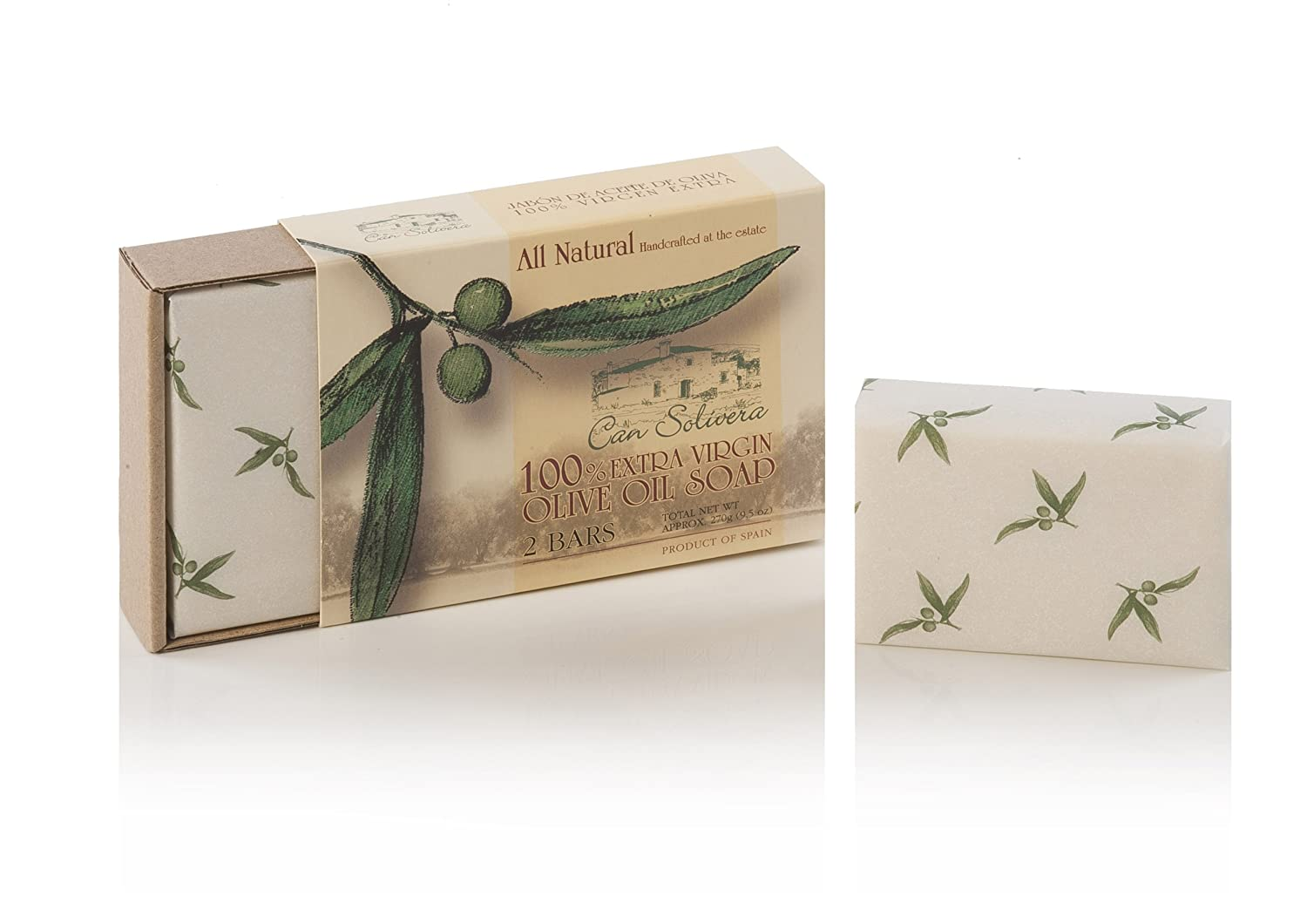 Can Solivera – 100 Pure Extra Virgin Olive Oil Solid Soap – Family Made by Medieval Receipe, 2 Bars of approx. 135g Each.