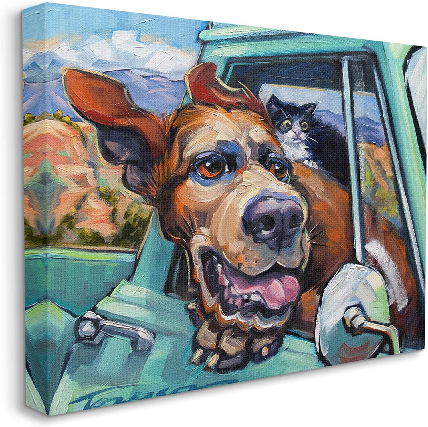 Stupell Industries Cat and Dog in Truck Window Wild Ride, Design by CR Townsend Canvas Wall Art, 24 x 30, Multi-Color