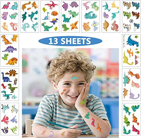 BOYS AND GIRLS TEMPORARY TATTOOS 12 DINOSAUR PARTY LOOT BAG FILLERS