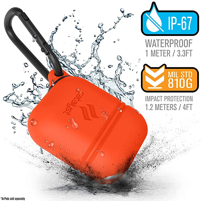 new product 96fd1 fb51e Waterproof Airpods Case for Apple Airpods 2 & 1 by Catalyst, Drop Proof  Protective Cover Soft Skin, Carabiner, Silicone Sealing, Compatible  Wireless ...