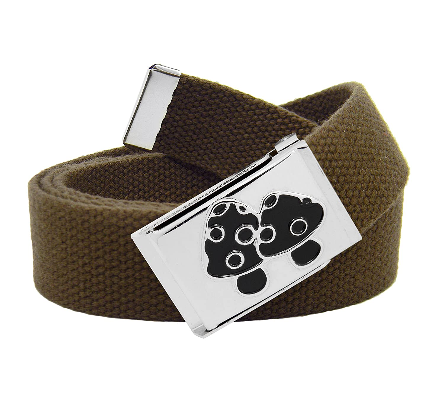 Mens Black Mushrooms Silver Flip Top Military Buckle with Canvas Web Belt