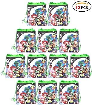 Qemsele Bolsa Mochilas Bolsas de cumpleaños 12Pcs Bolsas de Fiesta cordón Dibujos Animados Mochila Bolsas para cumpleaños niños y Adultos la Fiesta ...