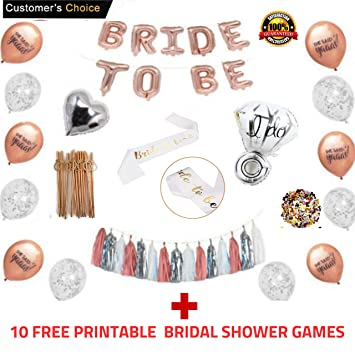 rose gold bridal shower decorations and games228pcs bachelorette gifts bride to be banner