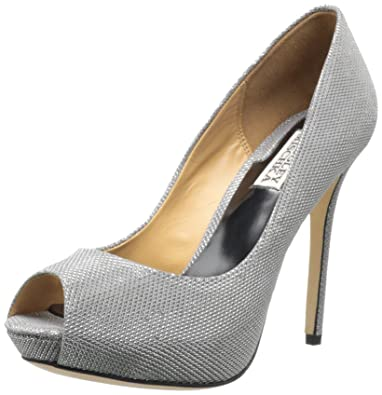 Womens Shoes Badgley Mischka Drama Pewter Metallic Mesh