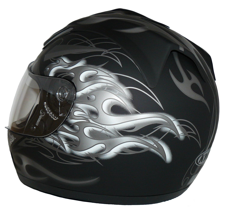 mat noir avec Motif de Dragon en bleu Taille: XS Protectwear H510-11-BL Casque de moto int/égral