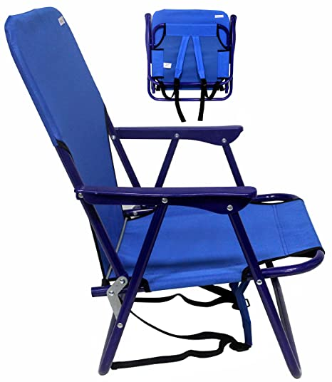 cd261680d1 VALLF Backpack Sturdy Beach Chair Steel Frame & Extra Comfort Foldable One  Position (Assorted Colors)