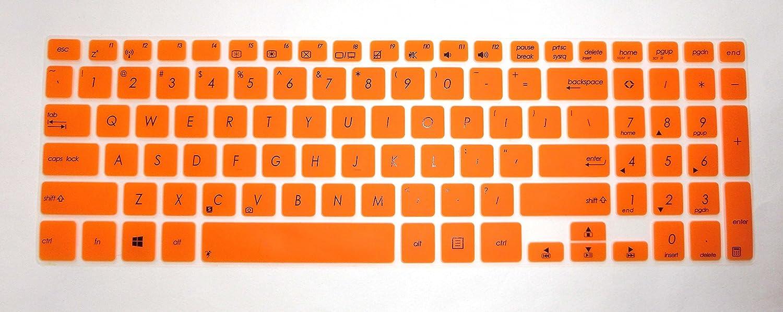BingoBuy Semi-Orange Keyboard Protector Skin Cover for 15.6 Asus A551L K551LN S551LA S551LN S551X V551 V551LA V551LB R553L R553LN Book Flip TP500LA TP500LN TP501UB with BingoBuy Case for ID Card
