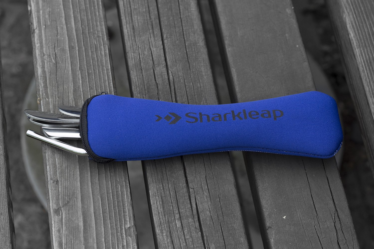 Sharkleap 5 Pieces Stainless Steel Utensil Set with Neoprene Case   Lightweight Cutlery Kit for School, College, Work, Camping and Other Outdoor Activities by Sharkleap (Image #5)