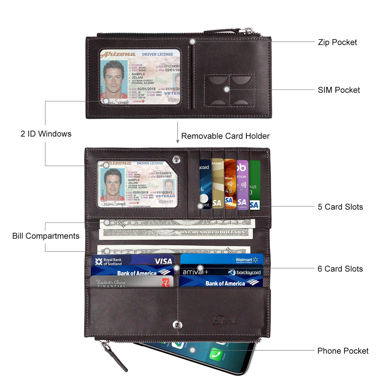Dante Men's Genuine Leather Large Capacity Long Wallet with Double Zipper    Travel Wallet   Credit Card Holder   Bifold Clutch Wallet for Men Change