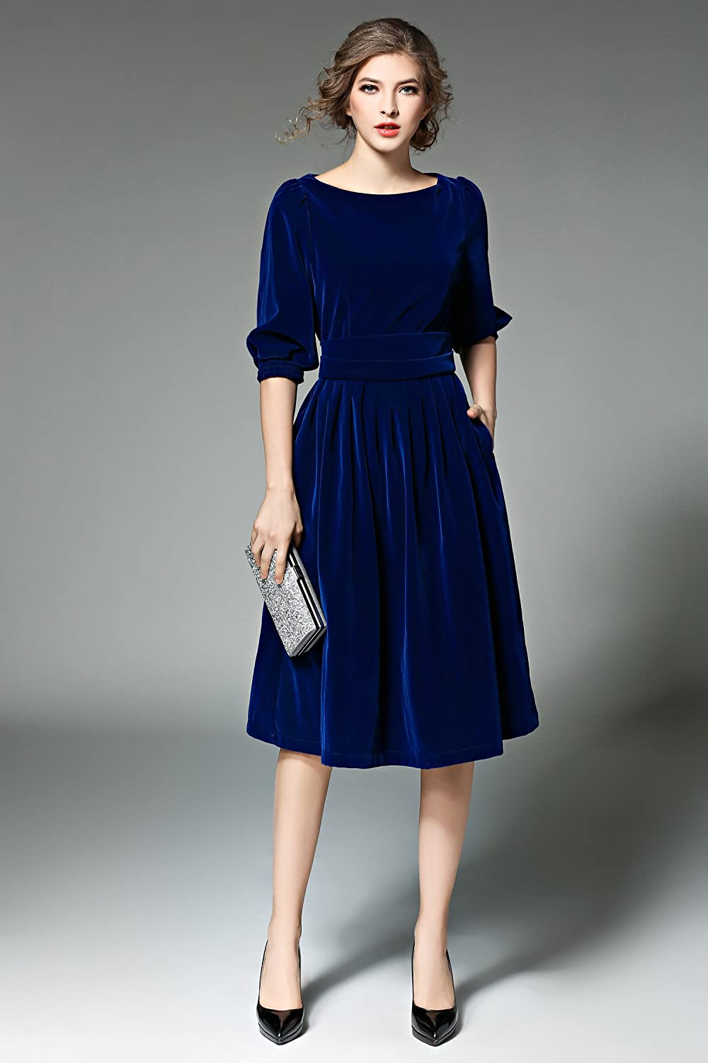 1940s Dresses | 40s Dress, Swing Dress Womens Vintage Round Neck Velvet Tunic Swing A-Line Dress $48.98 AT vintagedancer.com