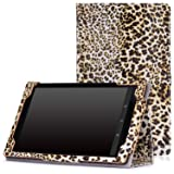 "MoKo Case for Fire HD 8 2015 [Previous 5th Gen ONLY] - Slim Folding Cover with Auto Wake/Sleep for Amazon Kindle Fire HD 8"" Display Tablet (2015 Release, NOT FIT Fire HD 8 2016), Leopard BROWN"