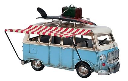 Modelo Auto Chapa de metal Front Bus Furgoneta Hippie azul 28 x 11 x 18 cm