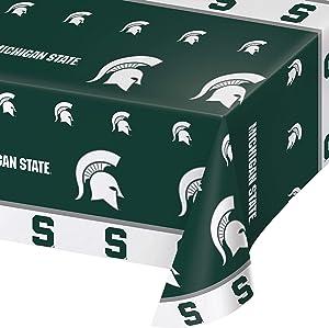 Michigan State University Plastic Tablecloths, 3 ct