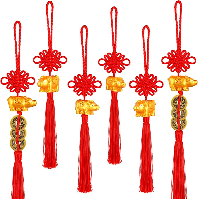 Chinese New Year Party Doll Supplies Chris.W 2021 Ox Year Mascot Hanging Ornaments 2 Pieces Calf Hanging Ornaments with Suction and Tassel for Car Home and Office