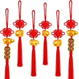 6 Pieces Year of Ox Cow Ornament 2021 Chinese Knot Ox Chinese New Year Ox Pendant Cow Ornament Mascot Chinese Feng Shui Coins