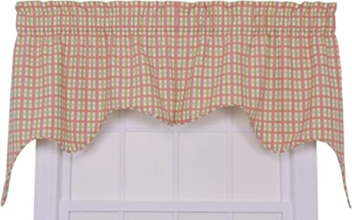 Charlestown Check Empress 2-Piece Swag Curtain Set, Watermelon