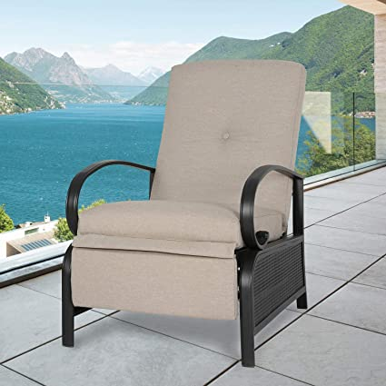 Astonishing Ulax Furniture Patio Recliner Chair Automatic Adjustable Back Outdoor Lounge Chair With 100 Olefin Cushion Sailcloth Beige Gmtry Best Dining Table And Chair Ideas Images Gmtryco