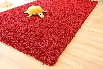 Shaggy hochflor teppich funny langflor teppich in rot mit Öko tex