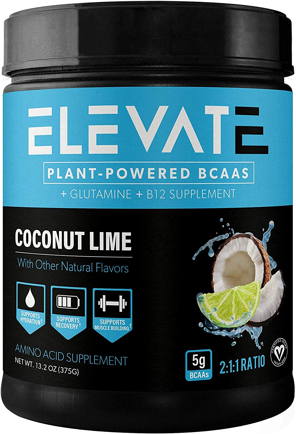 Elevate Nutrition Plant-Based Vegan BCAA Supplement for Muscle Building and Hydration- Energy Booster- All-Natural Food-Sourced BCAA 2 1 1 Ratio- Glutamine, B12, Non-GMO Coconut Lime