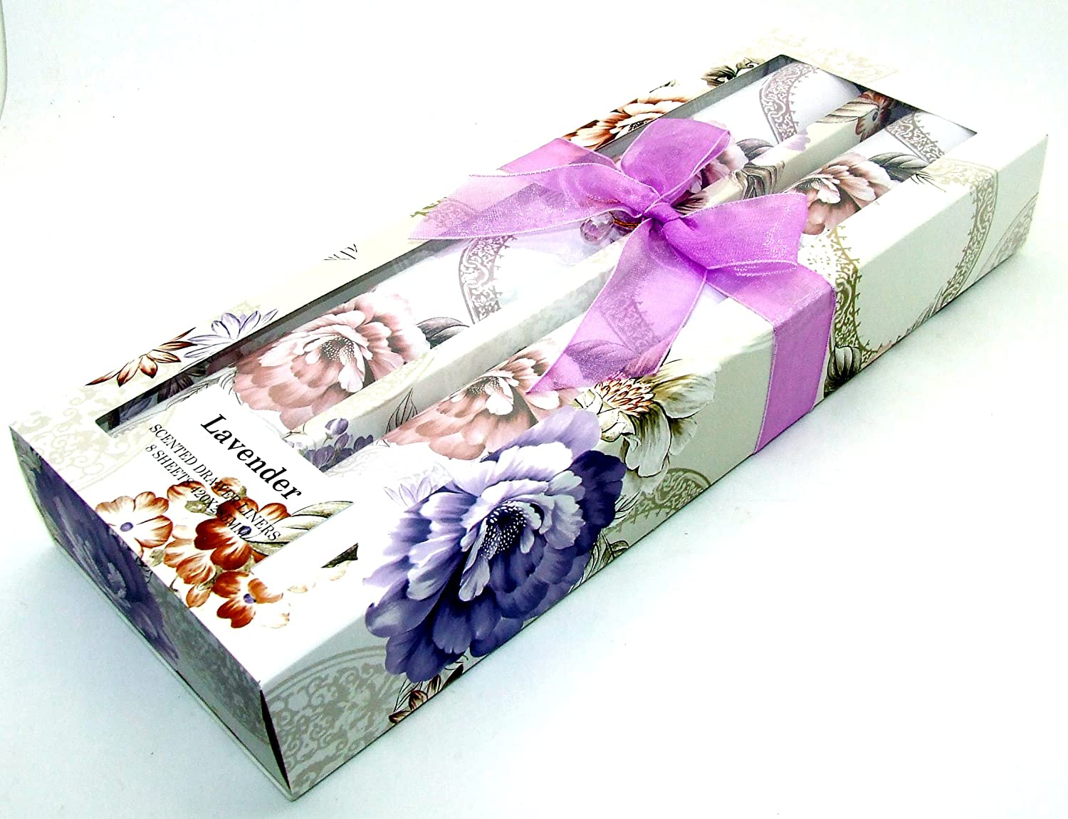 Scented Perfumed Fragranced Drawer Liners - Lavender Pack of 8 Sheets - Floral Pattern 42 x 28.5cm Unbranded