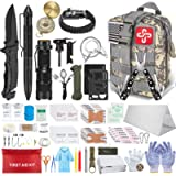 152Pcs Emergency Survival Kit and First Aid Kit, Professional Survival Gear Tool with Tactical Molle Pouch and Emergency…