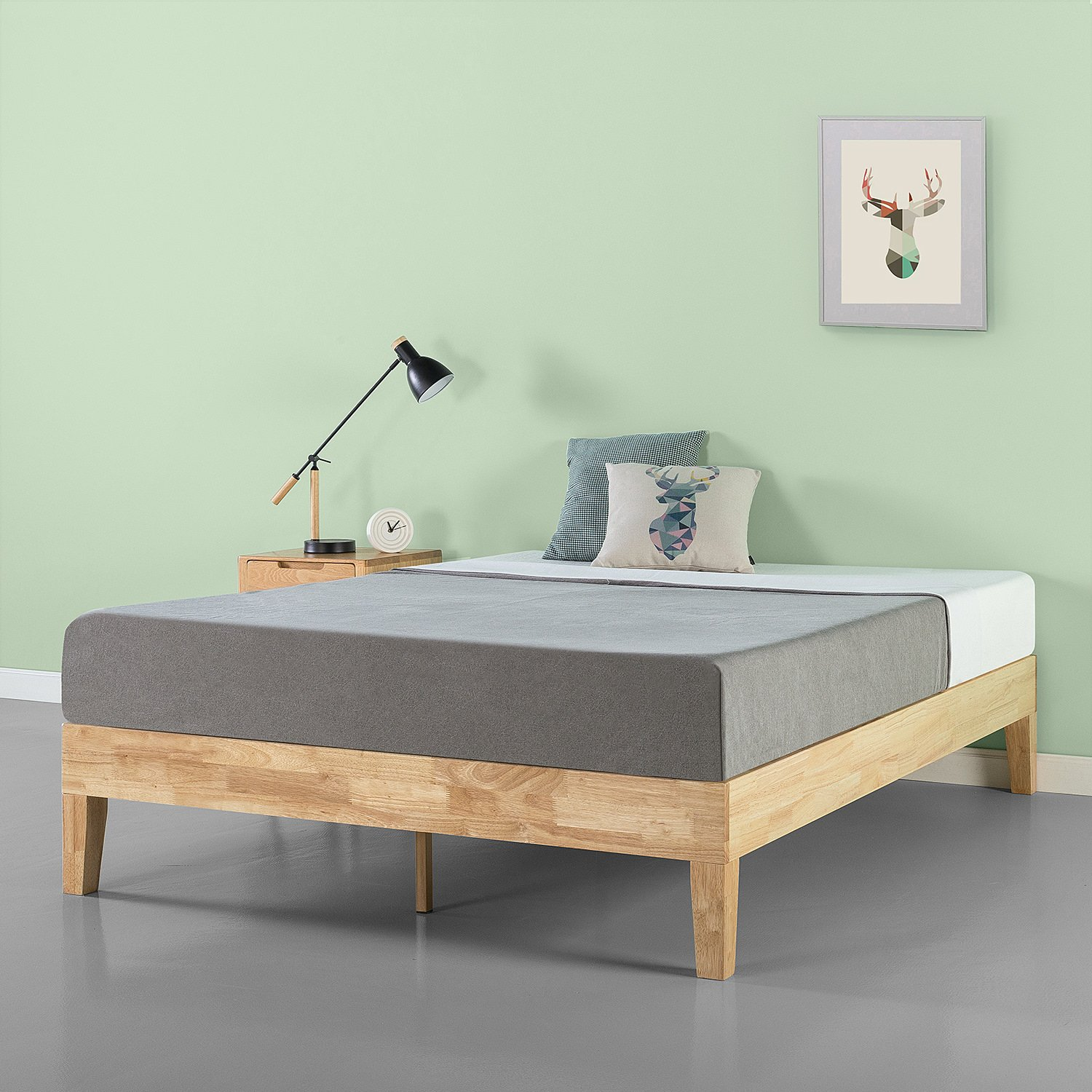 Zinus Moiz 14 Inch Deluxe Solid Wood Platform Bed Frame with Wood Slat Support No Box Spring Needed, Queen