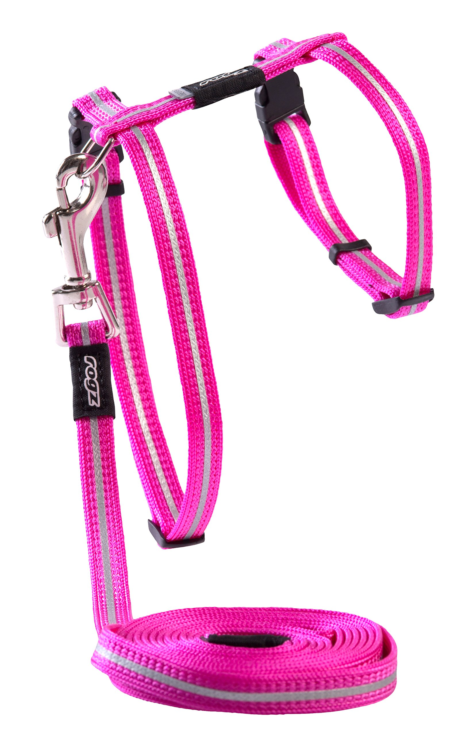Rogz Reflective Nylon Cat Leash and Harness Combination Set, escape proof for walking and fully adjustable to fit most breeds, Pink