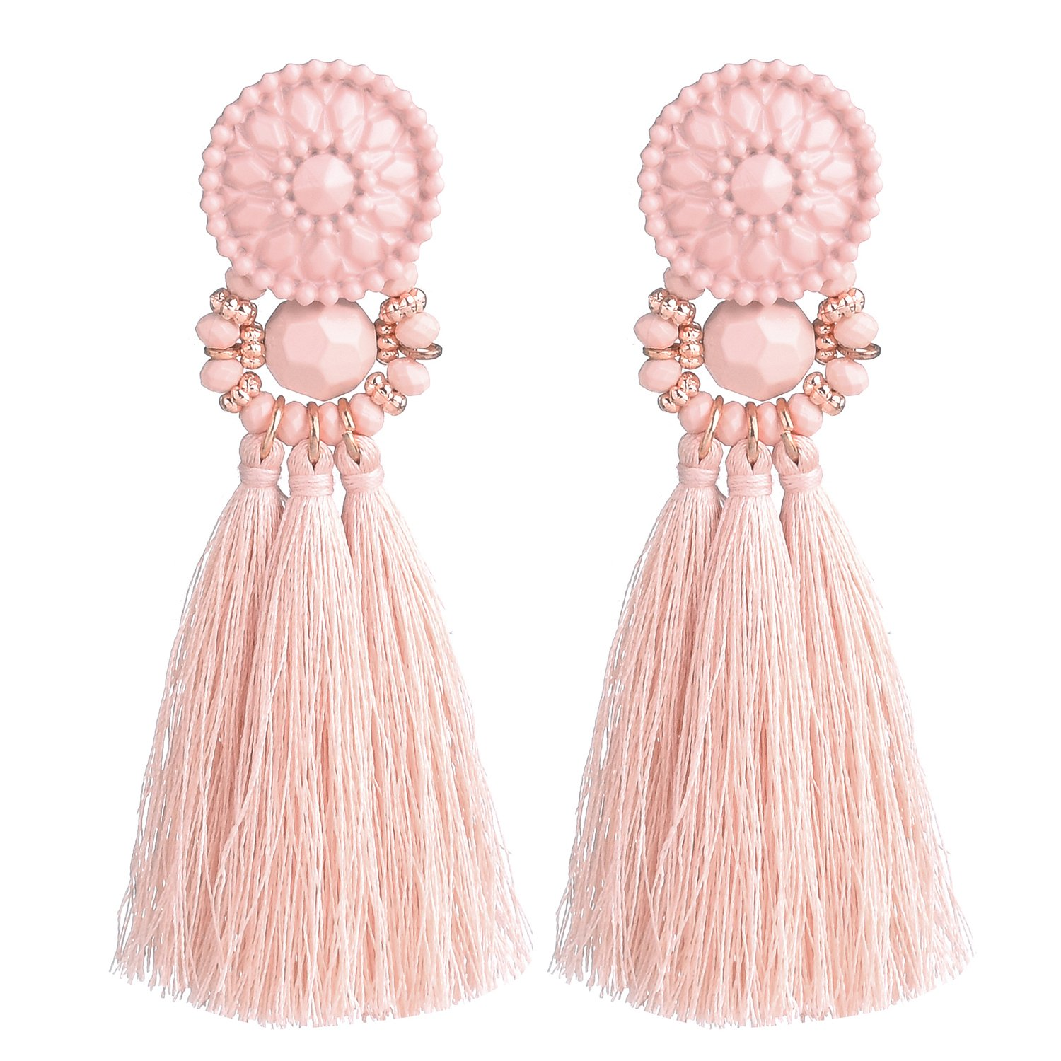 D EXCEED Womens Fashion Statement Thread Tassel Earrings Bohemian Handmade Facet Bead Chandelier Earrings Tassel Dangle Drop Earrings Pink