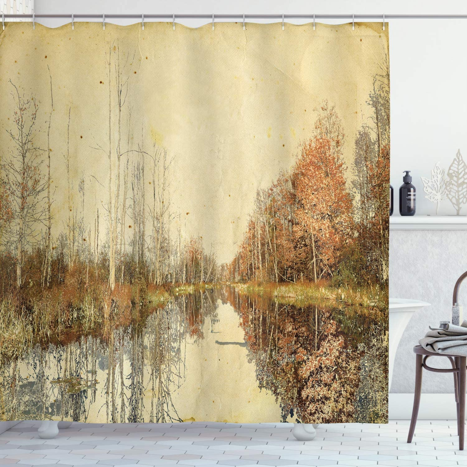 Ambesonne Autumn Shower Curtain, Colorful Fallen Leaves at Fall Season Design Watercolor Style Trees in The Woodland, Cloth Fabric Bathroom Decor Set with Hooks, 70