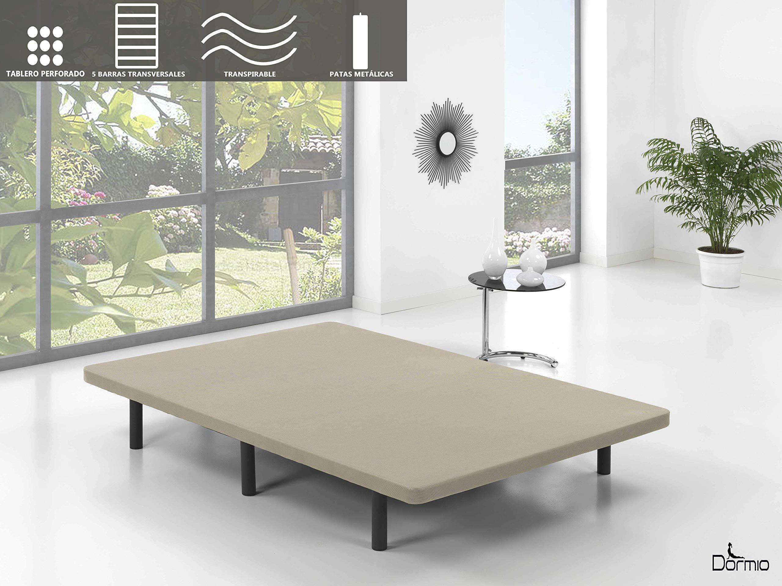 Dormio Base Tapizada con 5 barras transversales + 6 patas de metal, con Tejido Strech