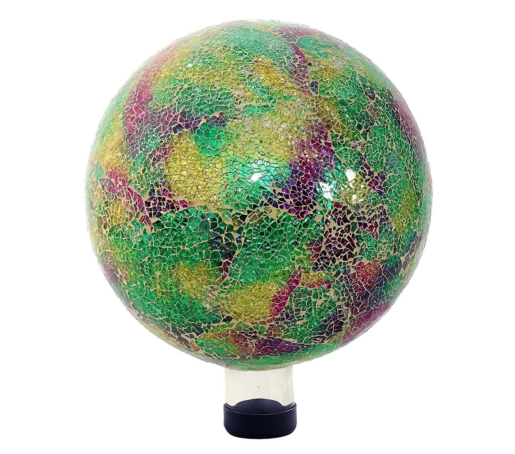 Outdoor Garden Backyard Décor Mosaic Gazing Globe, 11 Inch Tall Multi-Color