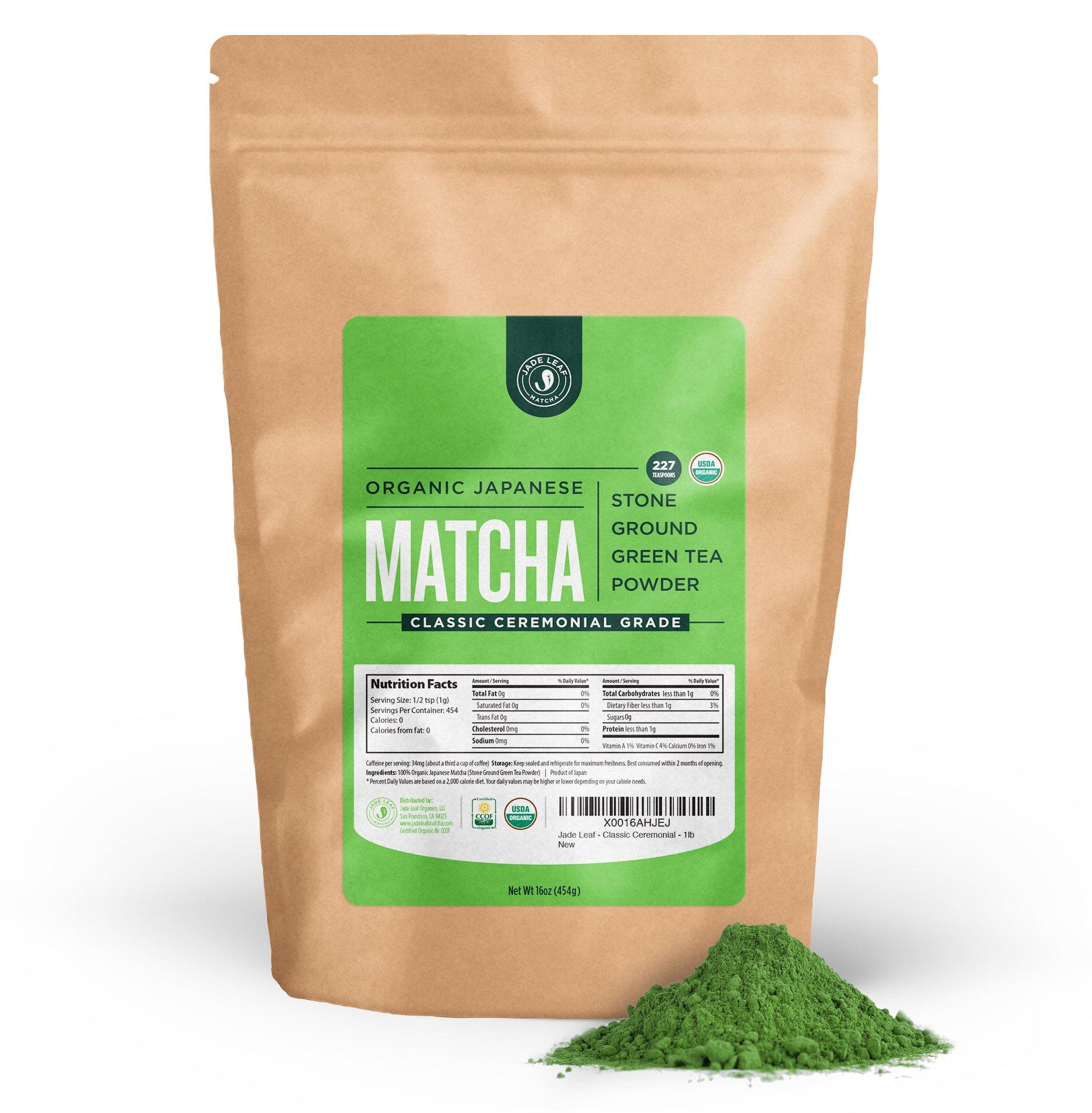 Jade Leaf Matcha Green Tea Powder - USDA Organic - Ceremonial Grade (For Sipping as Tea) - Authentic Japanese Origin - Antioxidants, Energy [1lb Bulk Size]