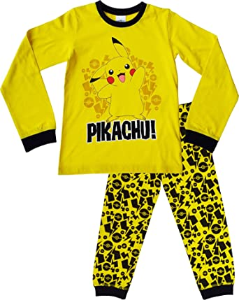 4567ff04c1cb Pokemon Pyjamas Boys Girls Pikachu Pyjama Set 100% Cotton Long Snuggle Fit  PJs Nightwear 11-12 Years  Yellow   Amazon.co.uk  Clothing