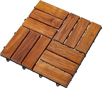 Nordic Style Oiled Teak Interlocking Tiles - Wooden Floor
