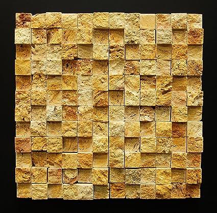 Gold/Yellow 1X1 Travertine HI-LOW Split - Face Mosaic Tiles - Wall ...