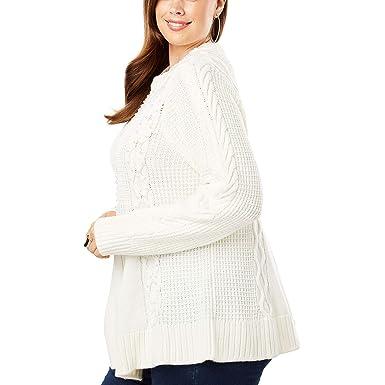 93e310e71550f Roamans Women s Plus Size Cable Knit Fit   Flare Sweater - Pearl  Embellishments