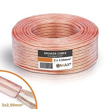 MANAX® cable del altavoz 2 x 2,50 mm² 50 m transparente Anillo