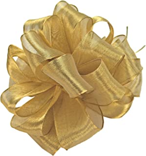 product image for Offray Wired Edge Firefly Metallic Sheer Craft Ribbon, 1-1/2-Inch Wide by 10-Yard Spool, Gold