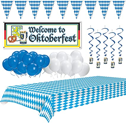 Hanging Whirls Bundle Includes Tablecover Centerpiece Oktoberfest Party Decorations and a Banner