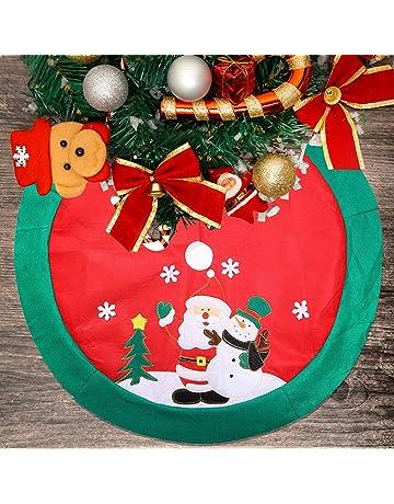 White Christmas Tree Skirt Red Decor Base Floor Mat Cover Xmas Decoration 80cm